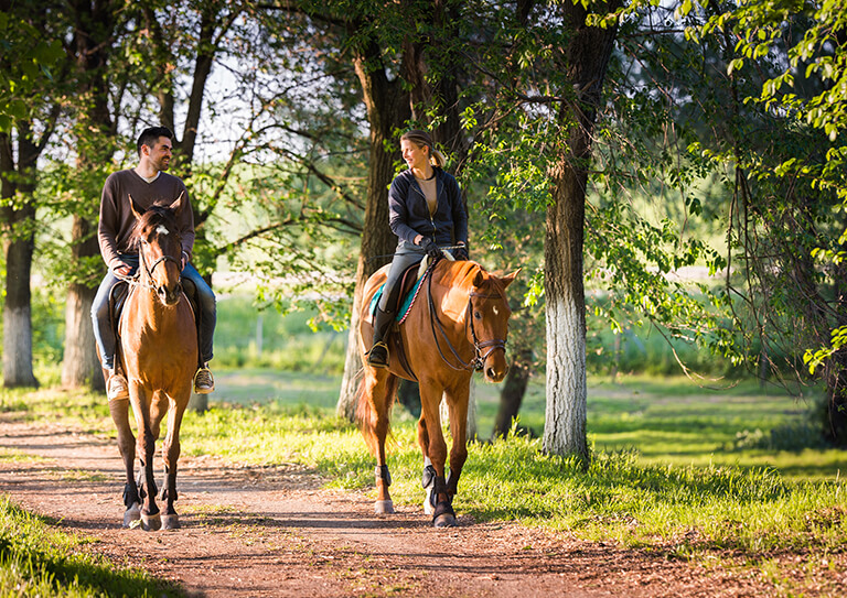 Young,Couple,In,Love,Riding,A,Horse